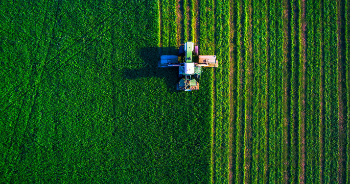Above view of tractor farming
